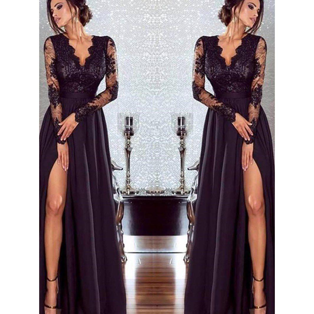 Women sexy lace long dress elegant evening party dresses