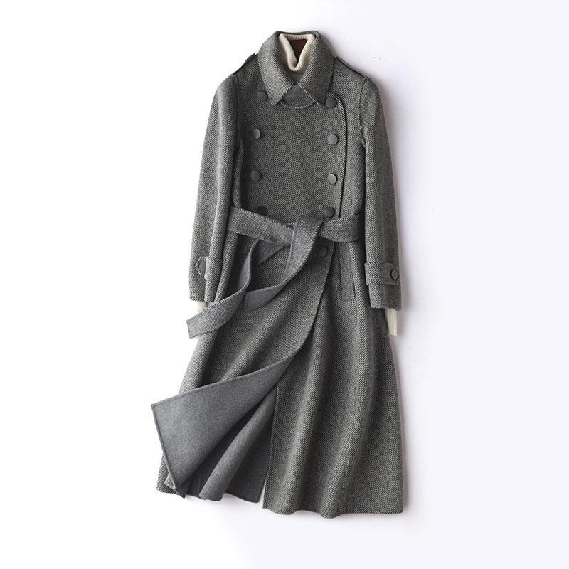 绒暖斯特2018春季新款双面呢大衣女羊毛呢子外套长款人字纹韩版74