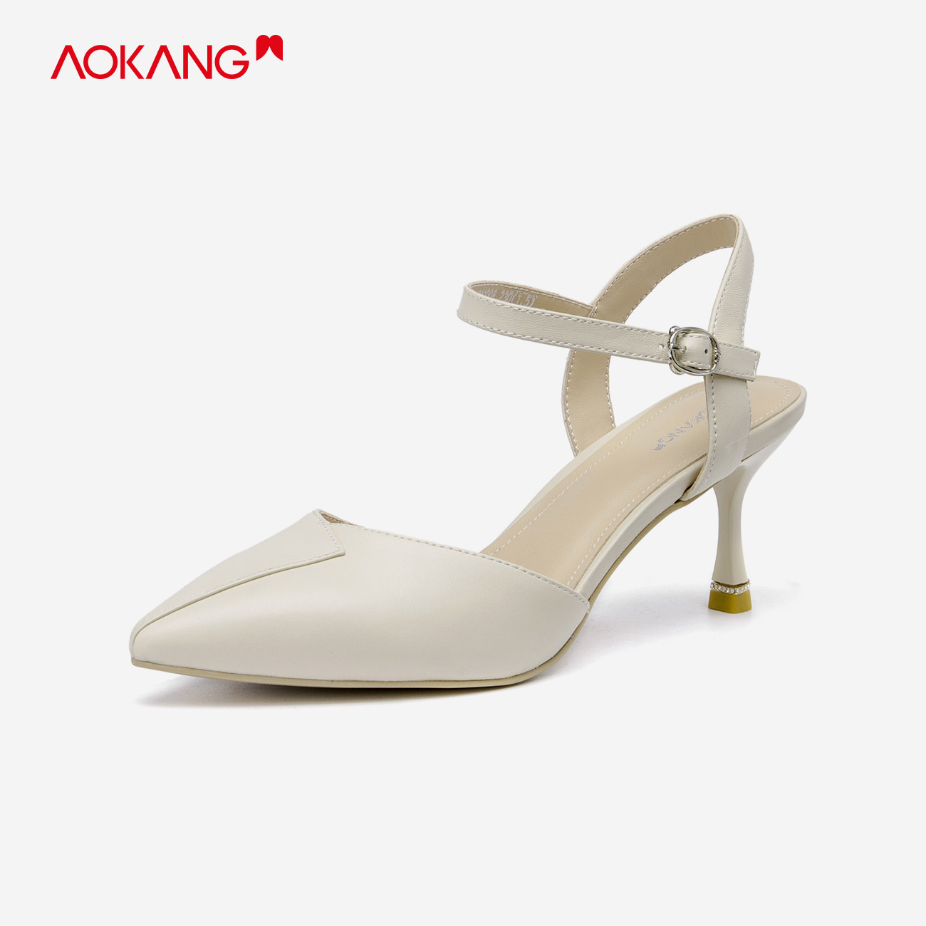 Aokang womens shoes 2021 spring new Baotou sandals sheepskin middle heel one line belt commuter thin heel pointed shoes fashion