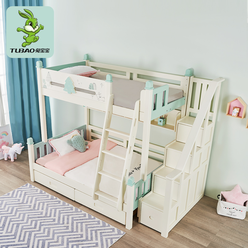 Bunny high and low bed childrens bed girl solid wood mother bed multi function bed double bed upper and lower bunk bed