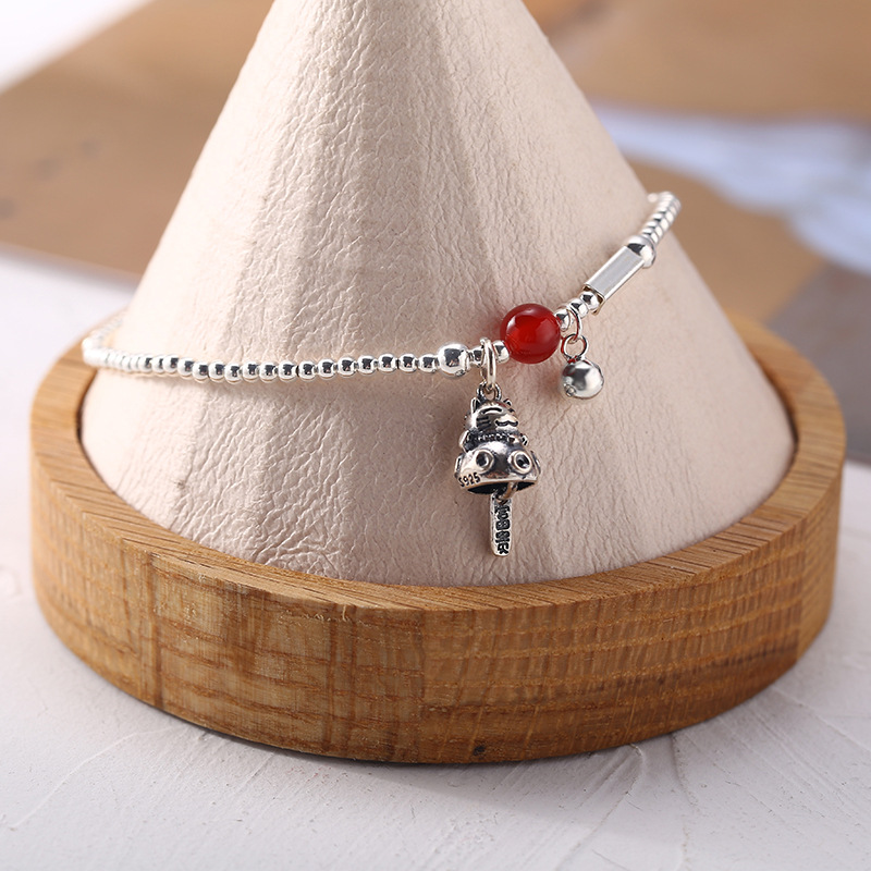 S925 pure silver red agate Zhaocai cat Anklet female Japan simple handmade ball Fashion Bracelet student 4077