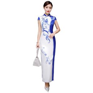 青花瓷真丝绸旗袍式中长款连衣裙