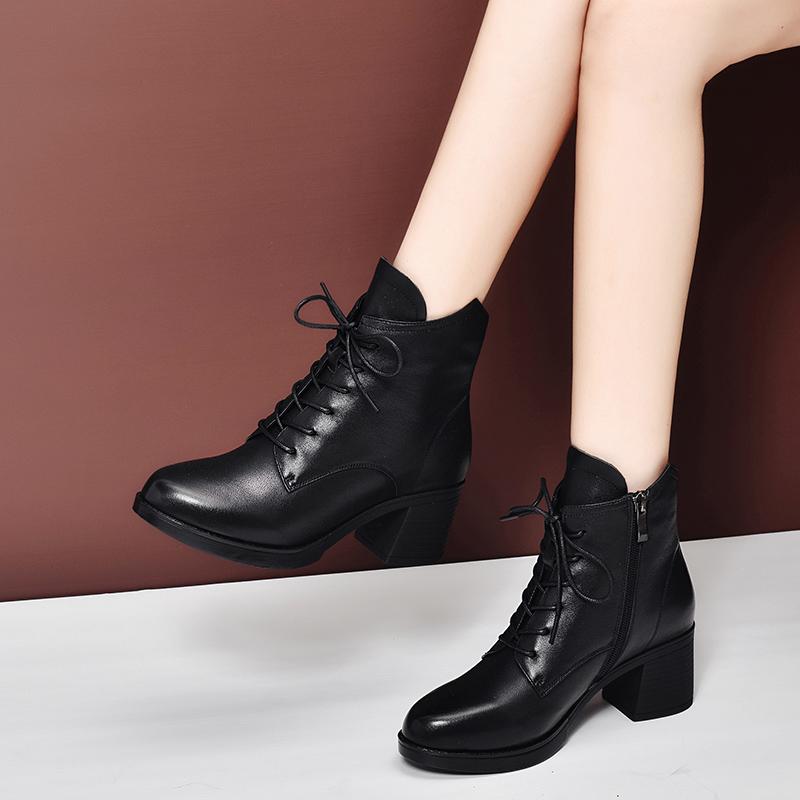 马丁靴2020年新款春秋单靴女真皮高跟秋冬百搭英伦风中跟粗跟短靴