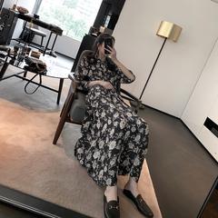 詹维尼 印花连衣裙女装2019款春夏长袖裙子收腰修身黑色大花长裙