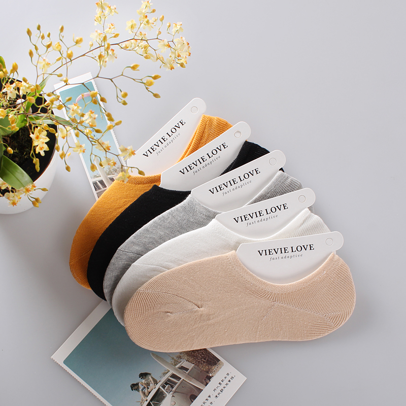 Invisible socks womens summer silica gel antiskid shallow bean shoes ship socks thin all cotton socks solid color socks children