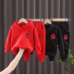 连帽运动服两件套套头卫衣裤子休闲套装秋季大童慵懒婴幼儿时髦红