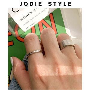 韩国博主钛钢欧美简约百搭光面圆圈食指尾戒指环加宽粗细款男女