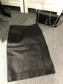 乔乔独家设计 意大利弹力绵羊皮侧拉链性感小开叉包臀半裙