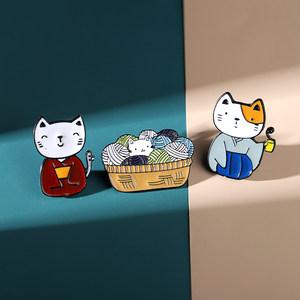 日系文艺风和服猫咪胸针撞色可爱小猫徽章衣服情侣领针包包配饰女