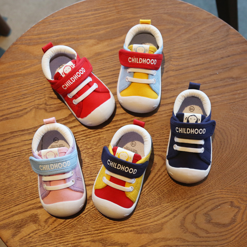 Hanni bear spring and autumn new baby walking shoes soft soled indoor shoes boys and girls baby childrens shoes canvas shoes fashion