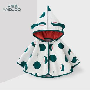 韩版春秋棉针童装婴幼儿披风1-4岁连帽披肩儿童公主秋冬防风斗篷