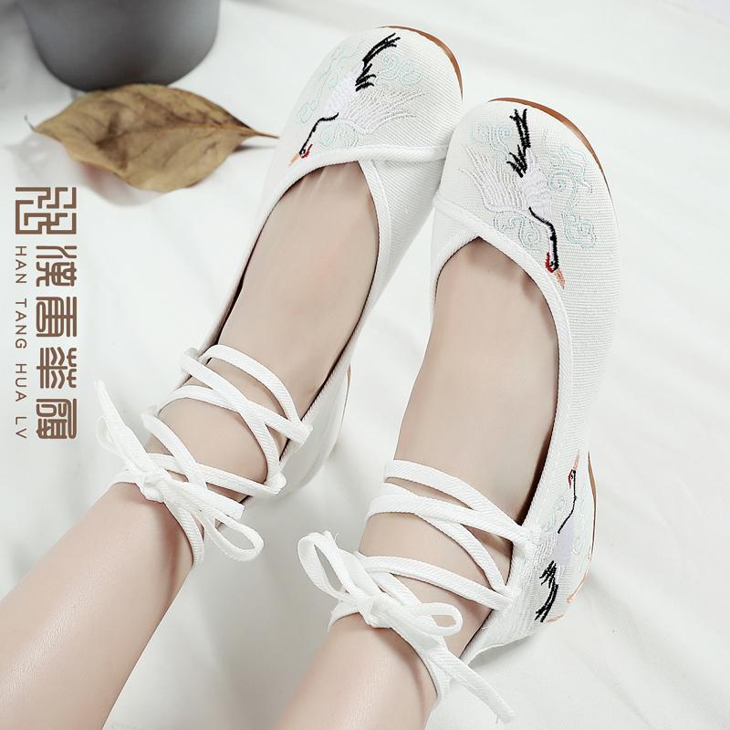 other/其他汉服鞋子女低跟内增高系带白色汉服配鞋古风绣花鞋布鞋