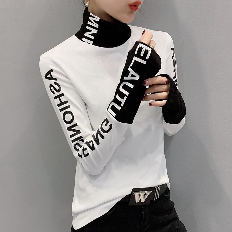2019新款半高领打底衫女秋冬洋气内搭加厚磨毛白色紧修身长袖上衣