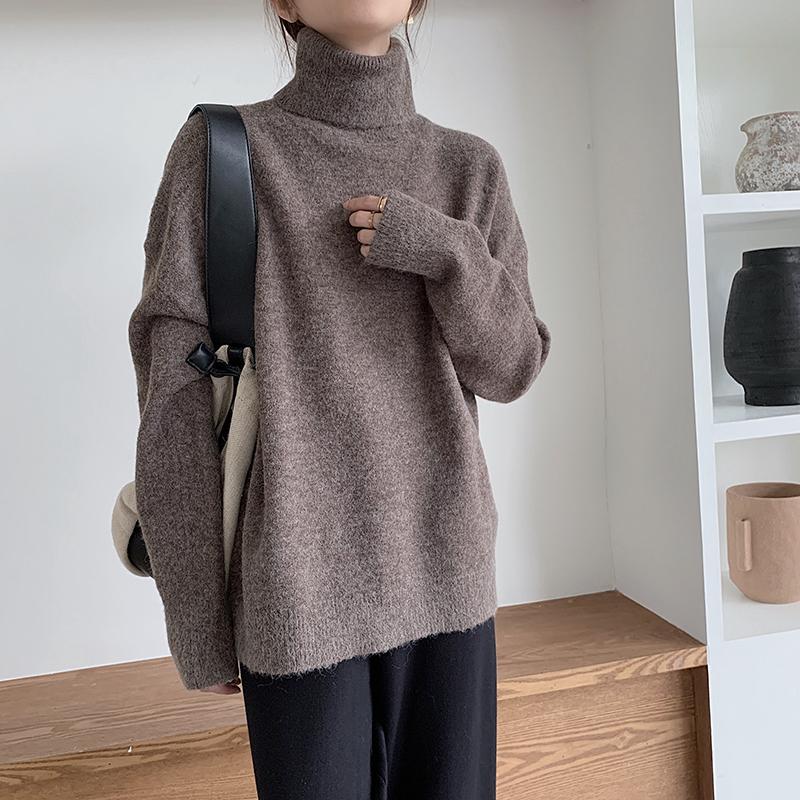 實拍#2020秋冬新款寬松韓版打底針織高領套頭羊絨毛衣女外穿