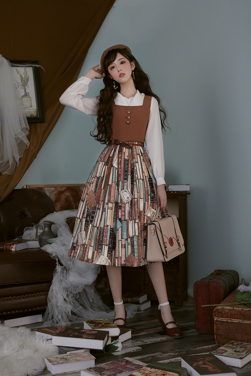 Belegantys dusty book original daily Lolita Japanese printed patchwork dress available