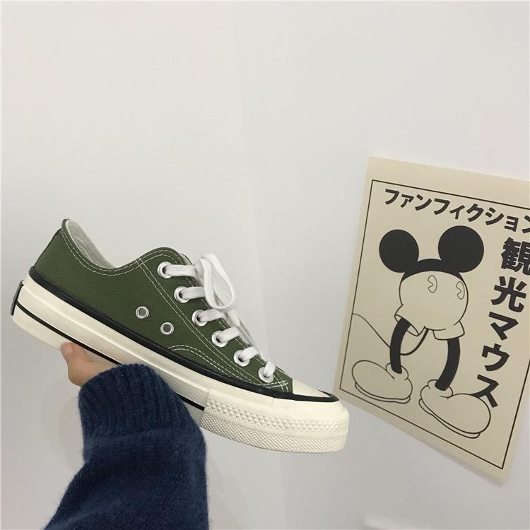 小黄桃韩国ulzzang港味女鞋1970s橄榄绿低帮复刻帆布鞋chic板鞋冬