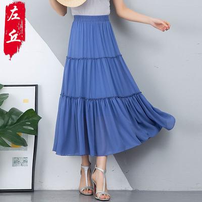 超仙层层蛋糕裙半身裙女夏季2019新款韩版白色雪纺学生大摆中长裙