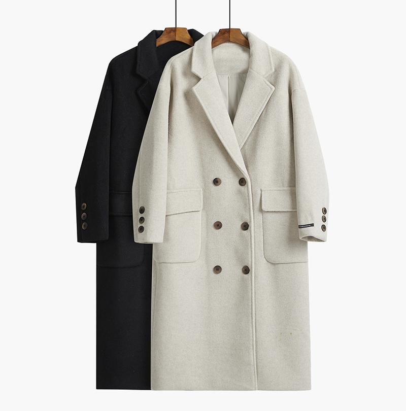 毛呢大衣外套女中长款秋冬季2019流行气质韩版加厚黑色小个子呢子图片