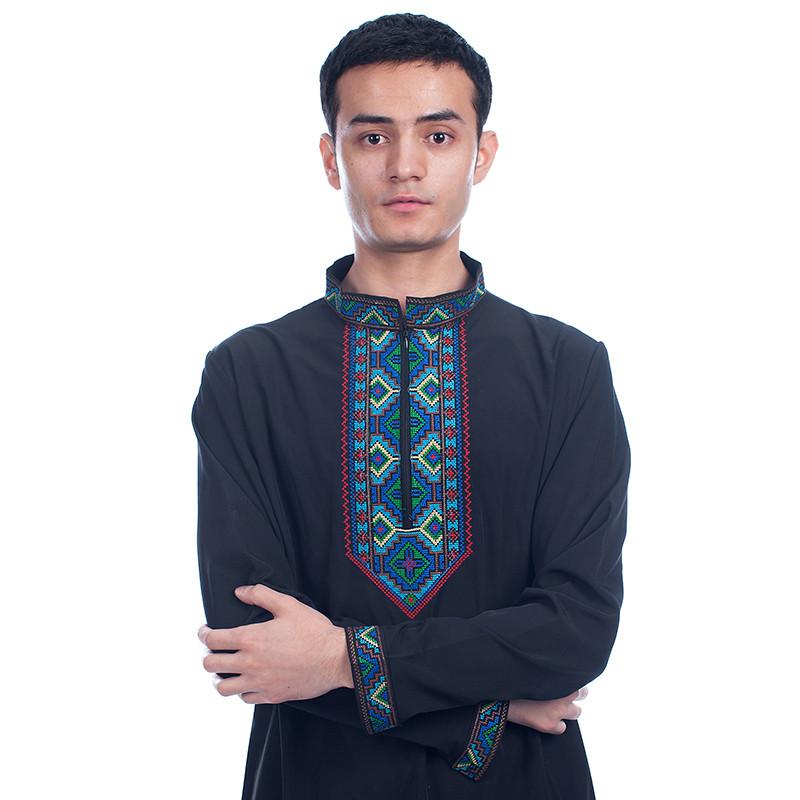 新疆民族服饰男女绣花衬衣维族民族饭店服务员工作服装长袖装新款