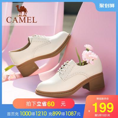 骆驼女鞋2021春秋新款爆款英伦风小皮鞋真皮鞋子粗跟单鞋高跟鞋女