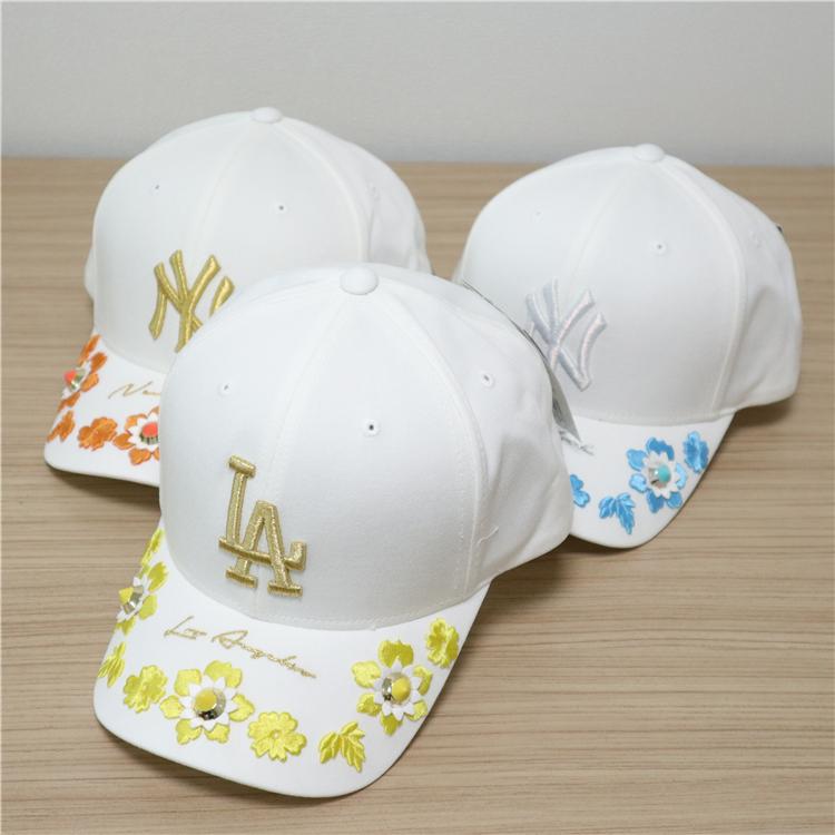 现成人打折款MLB韩国代购夏季花边刺绣时尚运动帽棒球帽鸭舌帽
