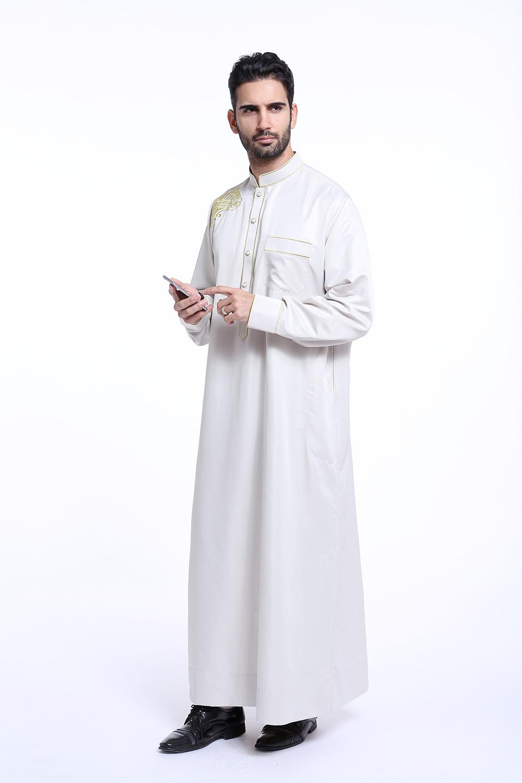 新款mu斯林中东沙特礼拜服男士少数民族长袍长袖立领刺绣宽松服装