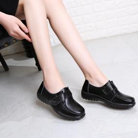 肯德基工作鞋黑色软皮单鞋平底皮鞋