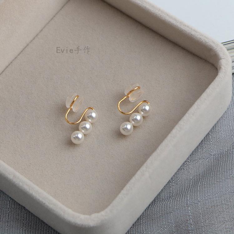 珍珠无耳洞蚊香盘耳夹简约一字硅胶耳钉不痛舒适图片