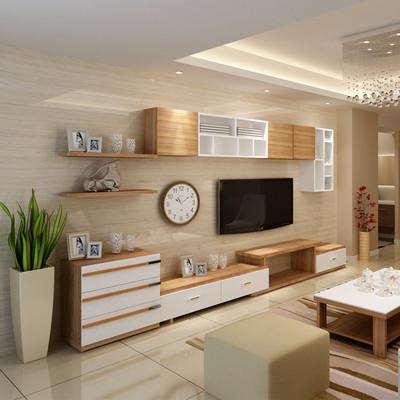 客厅北欧电视柜现代简约背景墙柜实木颗粒家用电视柜茶几组合套装