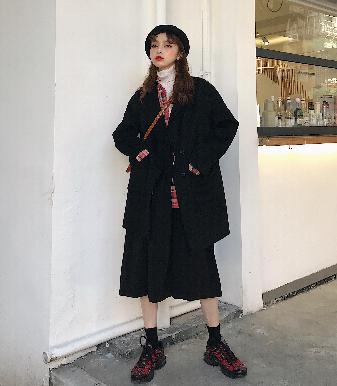 实价实拍 黑色西装外套女中长款2019秋冬百搭毛呢大衣小个子