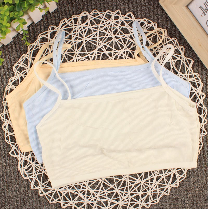 Korean screw thread cotton babys bra single layer sweat absorption anti saliva chest protection babys sling chest pocket ventilation health care