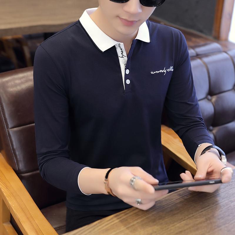 咖啡厅6712-P40男士长袖T恤秋季polo衫韩版潮流衬衫领体恤翻领