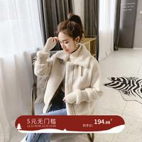 短款外套女冬装2018新款韩版宽松仿皮毛一体宽松毛绒外套厚夹克潮