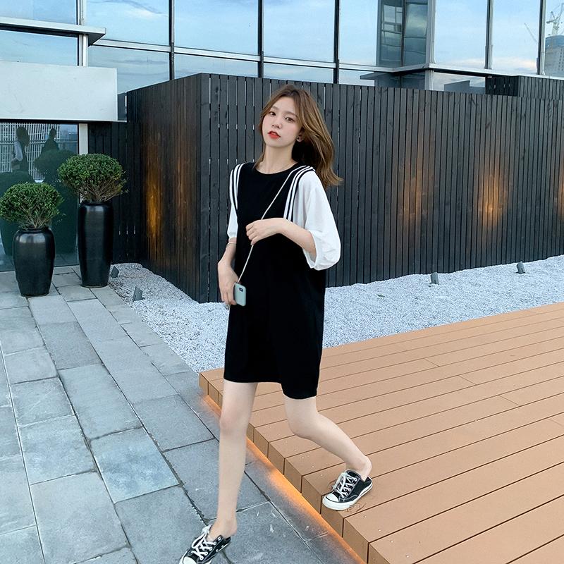 黑色泡泡袖连衣裙女夏装2020新款女装韩版短裙宽松显瘦拼接裙子潮