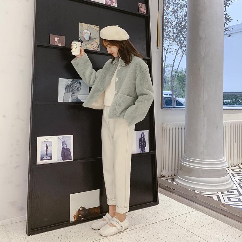 仿皮毛一体短款外套女秋冬装2018新款韩版宽松小个子仿羊羔绒外套