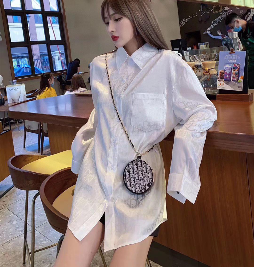 Niko fashion brand letter overprint pattern Silk Satin Long Sleeve womens sexy shirt mens loose fashion pajamas