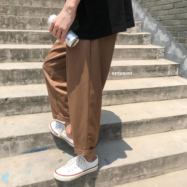 2019夏季新款韩版垂感直筒休闲裤男士潮流宽松薄款九分裤男裤子满88元可用5元优惠券