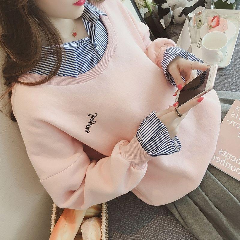 衬衫女学生韩版宽松春秋女装学院风假两件加绒粉色泡泡袖卫衣上衣