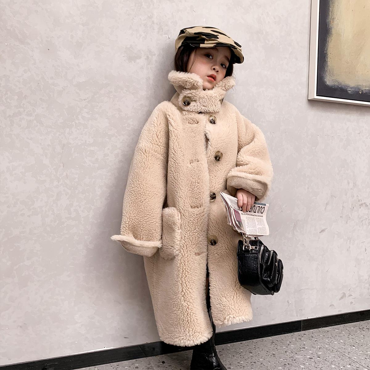 新款羊毛一体宝宝冬装女童长款中大儿童羊羔毛童装海宁皮草外套