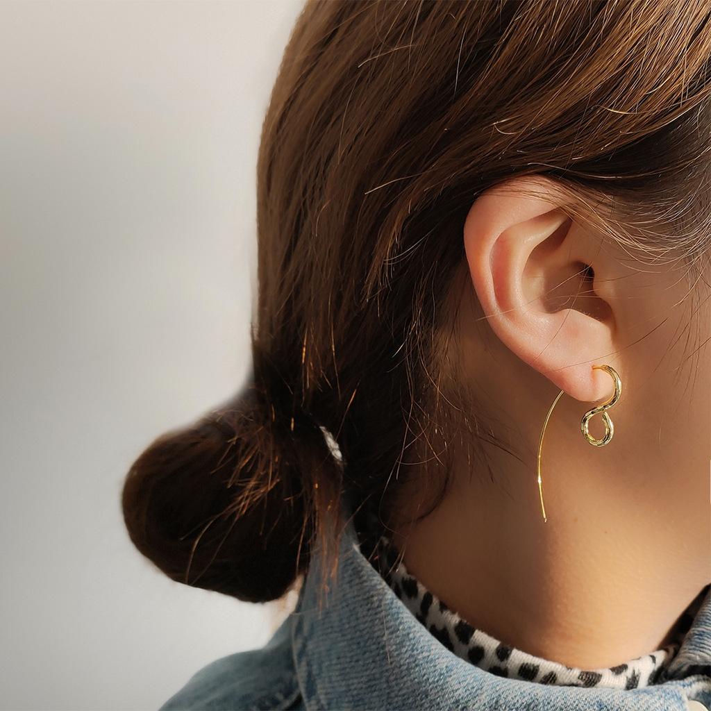 几何个性耳钩耳环 电镀14K真金法式创意设计女个性时尚潮耳饰T420