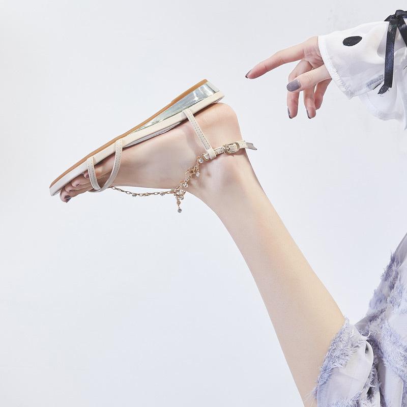 百搭2021新款仙女风平底鞋少女凉鞋
