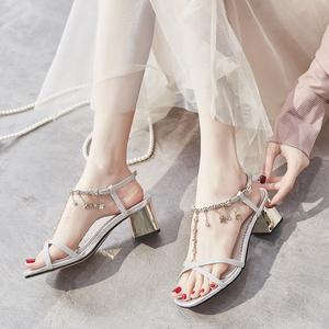 新款时装2021韩系粗跟中跟网红凉鞋
