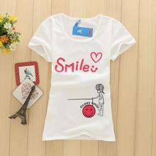 买一送衣 短袖t恤女修身圆领字母印花卡通甜美夏天清凉薄款套头衫
