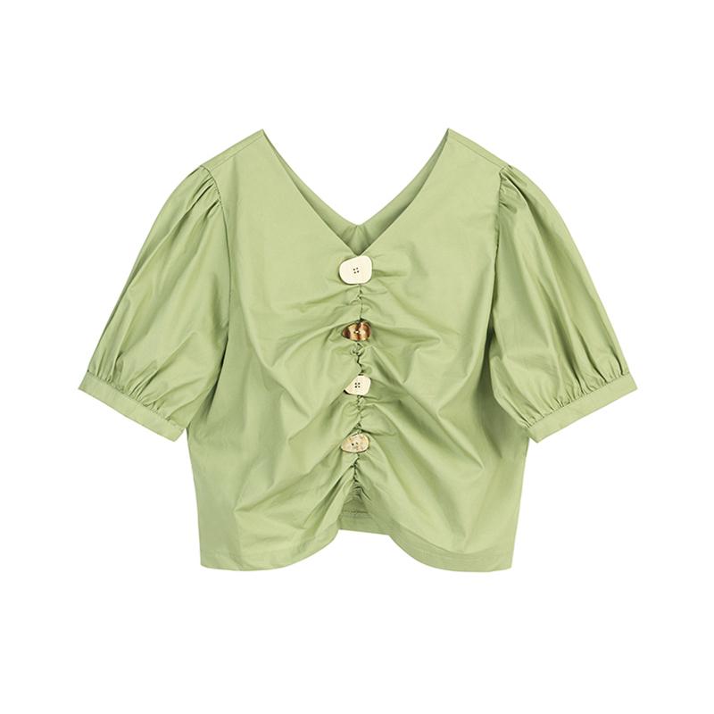 (用1元券)VEGA CHANG短袖T恤女2019新款牛油果绿小众设计不规则修身短上衣