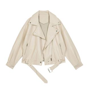 VEGA CHANG機車皮衣女2019秋裝新款西裝領BF風帥氣pu皮夾克短外套