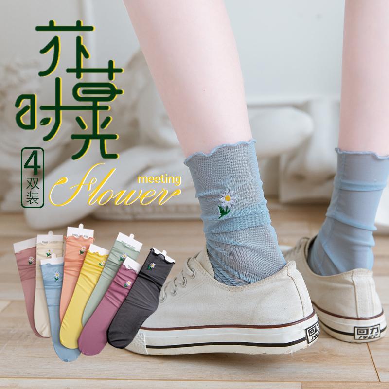 长袜子女夏季薄款小雏菊中筒袜ins潮水晶玻璃丝袜堆堆袜春秋夏天