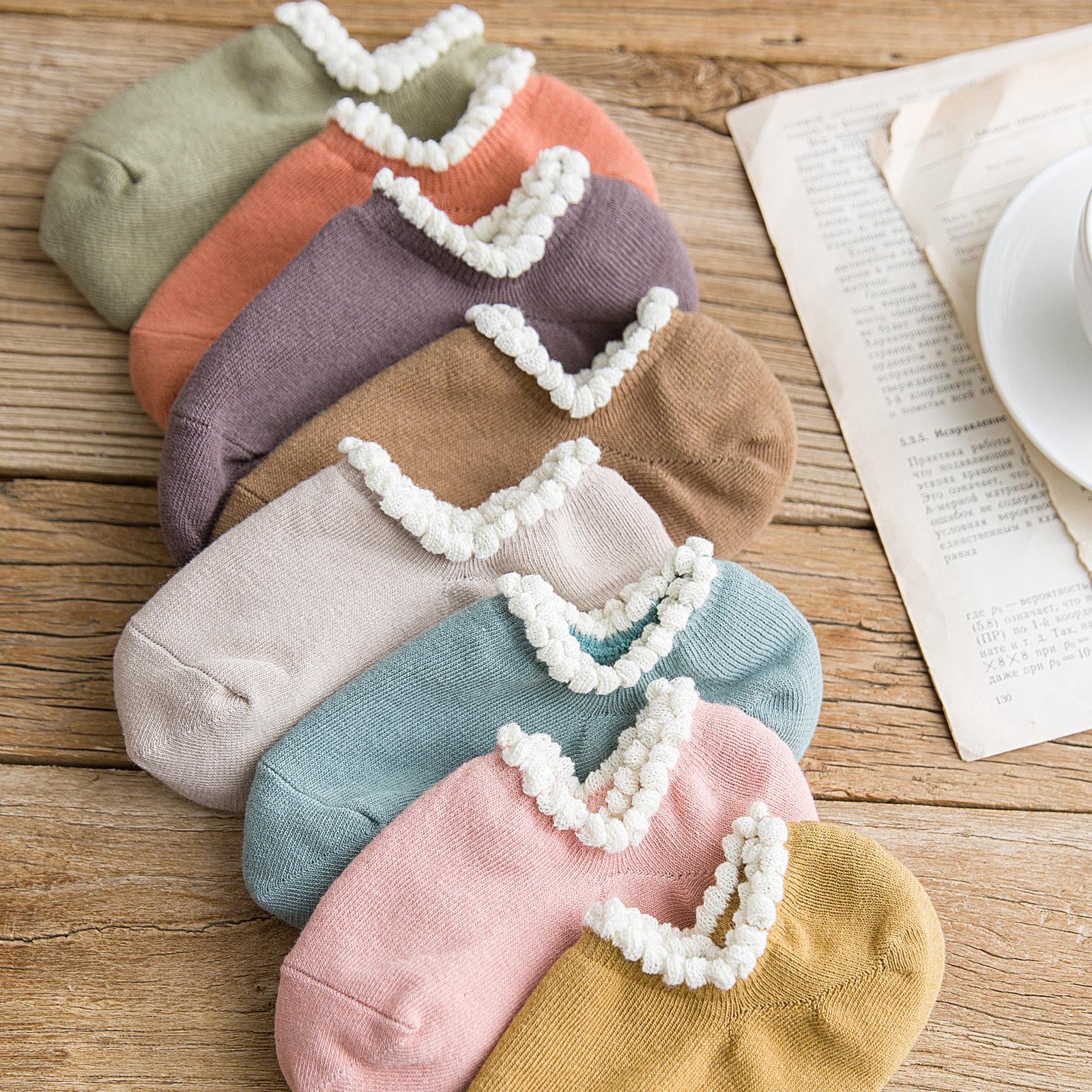 女袜子女船袜女士短袜浅口隐形袜纯棉硅胶防滑韩国可爱花边春秋冬