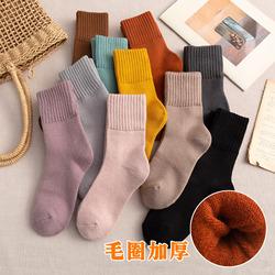加长袜子女中筒袜ins潮日系秋冬季加厚加绒保暖冬天超厚高筒长款