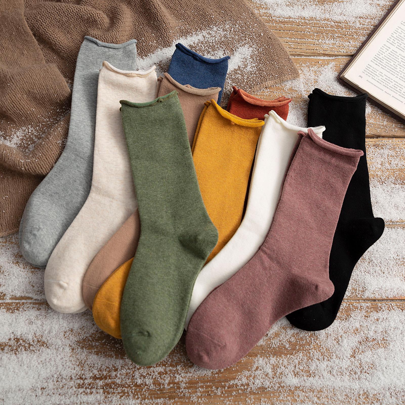 纯色长袜子女中筒袜春秋夏季薄款堆堆袜潮ins韩国日系月子袜长筒