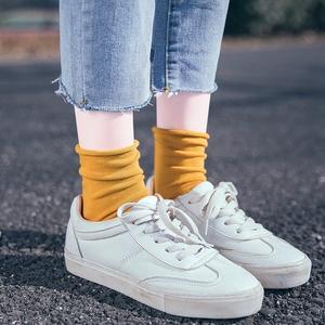堆堆袜子女韩国ins潮流日系韩版中筒袜纯棉长袜薄款纯色春秋夏季